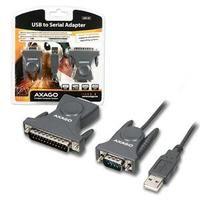 USB/SERIAL + USB/PARALER adaptér AXAGO USB2.0 - seriový RS-232 DB9   DB25 adapter - ADS-50