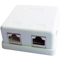 Zásuvka STP 2xRJ45 cat. 6 na omietku biela