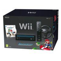 Nintendo Wii black Mario Kart+Wheel