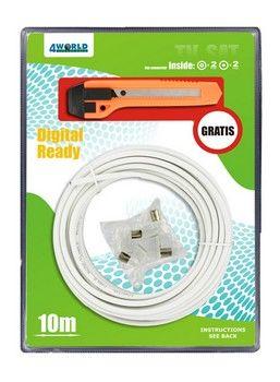 4World Sada anténový koaxiálny kábel 10m + čepeľ + plugs - 04780